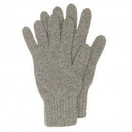 Graue Strickhandschuhe aus Lammwolle