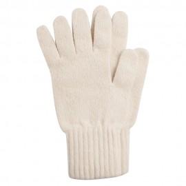 Cremeweiße Strickhandschuhe aus Lammwolle