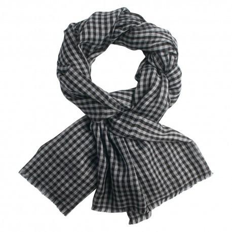 Kleinkarierter Pashmina-Schal in grau und schwarz