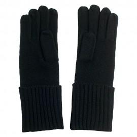 Schwarze gestrickte Kaschmir-Handschuhe