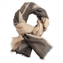 Kaschmir/Seiden-Schal in beige, grau und schwarz