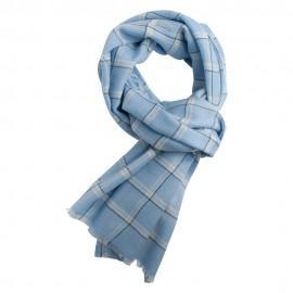 Blå rutig scarf i kashmir och ull
