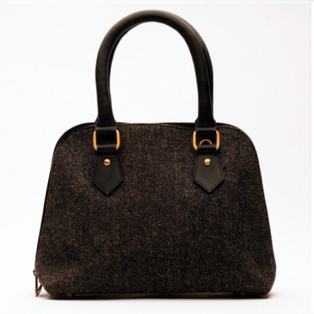Schwarze Handtasche aus Leder und Wolle
