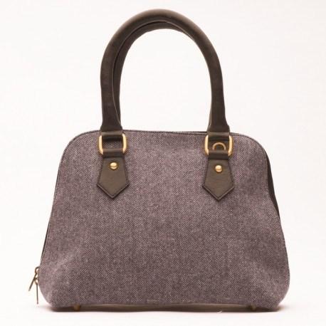 Grau/marineblaue Handtasche aus Leder und Wolle