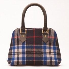 Handtasche aus Leder und blauer Schottenkaro-Wolle