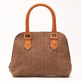 Braune Handtasche aus Leder und Wolle