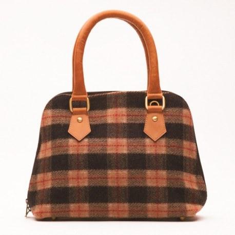 Handtasche aus Leder und Wolle in Erdtönen