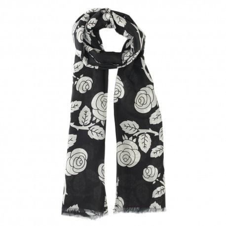 Schwarzes Tuch mit Blumendruck aus Seide/Modal
