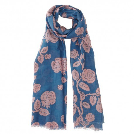 Blaues Tuch aus einer Seidenmischung mit Blumen