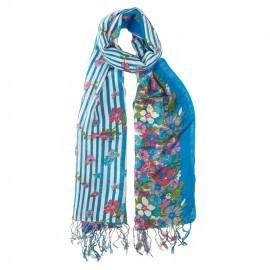Blaues Tuch aus Seide und Wolle mit Blumendruck
