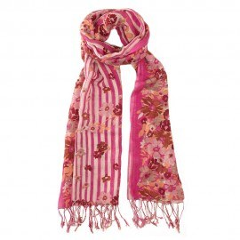 Rotes Tuch aus Seide und Wolle mit Blumendruck