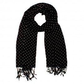 Schwarzes Tuch aus Wolle mit weißen Punkten