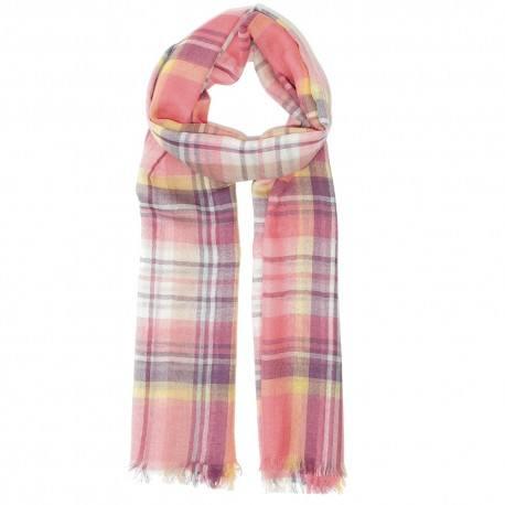 Pink kariertes Tuch aus Lammwolle/Seide