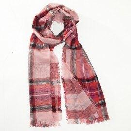 Roter Schal in reiner Merinowolle