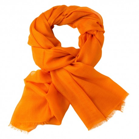 Orangefarbener Pashmina-Schal in doppelfädiges Twill
