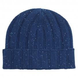 Kaschmir-Mütze aus blau meliertem Kaschmir