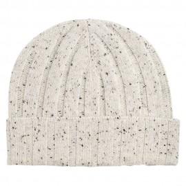 Weiß melierte Mütze aus reinem Kaschmir