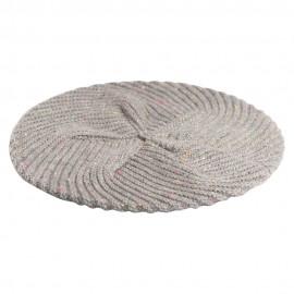 Graue Baskenmütze aus meliertem Kaschmir