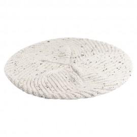 Weiß melierte Baskenmütze aus reinem Kaschmir